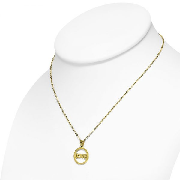 Amanto Ketting Dores A - Dames - 316L Staal PVD - Tekst - Liefde - 19x25mm - 45cm-20201