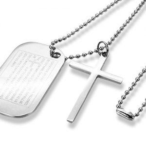 Amanto Ketting Djacky - 316L Staal - Dogtag - Kruis - 46x28mm - 70cm-0