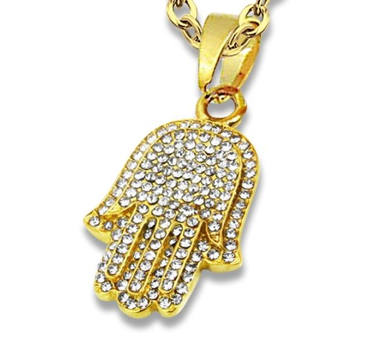 Amanto Ketting Diewa Gold - Dames - 316L Staal Goud PVD - Zirkonia - Fatima - 32 x 20 mm - 50 cm-0
