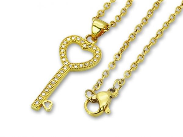 Amanto Ketting Dilge G - 316L Staal Verguld PVD - Sleutel - 27x12mm - 45cm-0