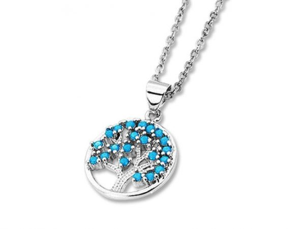 Amanto Ketting Celil Blue - Dames - 316L Staal PVD - Turkoois - Levensboom - ∅1.5 - 50 cm-0