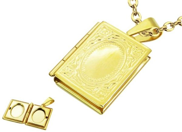 Amanto Ketting Dion Gold - Unisex - 316L Staal - Fotomedaillon - 23 x 19 mm - 60 cm-0