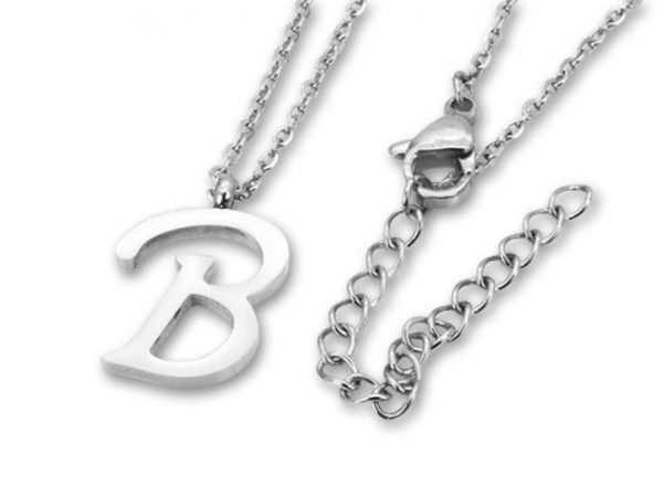 Amanto Ketting B - Unisex - 316L Staal - Letter - 18x12mm - 50cm-0
