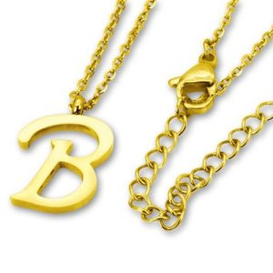Amanto Ketting B Gold - Unisex - 316L Staal Goud PVD - Letter - 18 x 12 - 50 cm-0