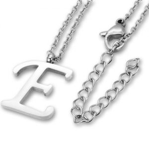 Amanto Ketting E - Unisex - Staal PVD - Letter - 18x14mm - 50cm-0