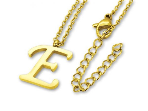 Amanto Ketting E Gold - Unisex - 316L Staal PVD - Letter - 18x14mm - 50cm-0