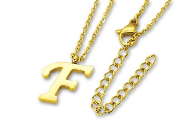 Amanto Ketting F Gold - 316L Staal PVD Verguld - Alfabet - 16x10mm - 50cm-0
