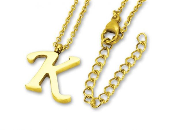 Amanto Ketting Letter K Gold - 316L Staal PVD - Alfabet - 16x14mm - 50cm-0