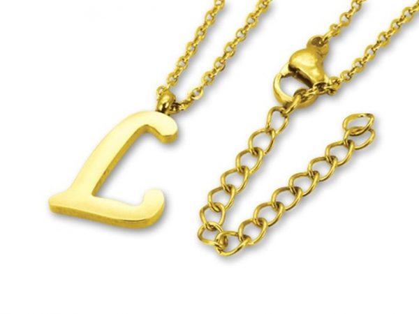 Amanto Ketting L Gold - Unisex - 316L Staal Goud PVD - Letter - 16 x 11 - 50 cm-0