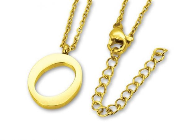 Amanto Ketting O Gold - Unisex - 316L Staal Goud PVD - Letter - 19 x 13 - 50 cm-0