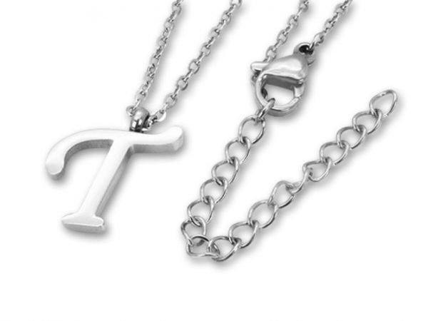 Amanto Ketting T - Unisex - Staal PVD - Letter - 17x11mm - 50cm-0