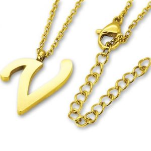 Amanto Ketting V Gold - Unisex - 316L Staal Goud PVD - Letter - 17 x 11 - 50 cm-0