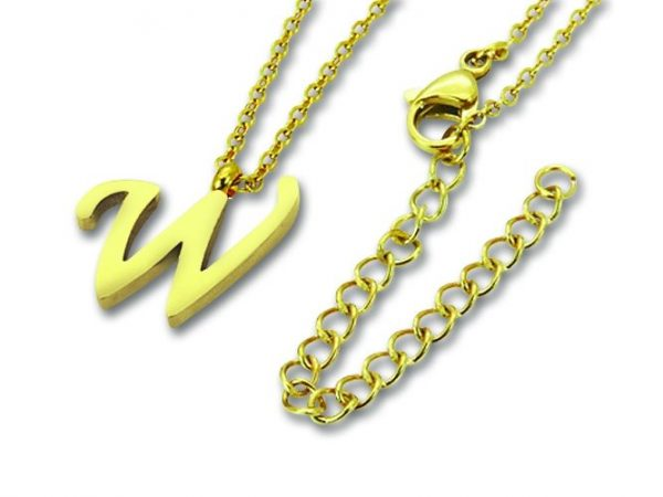 Amanto Ketting W Gold - Unisex - 316L Staal Goud PVD - Letter - 15 x 13 - 50 cm-0