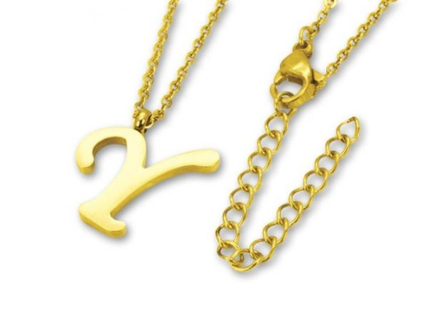 Amanto Ketting Y Gold - Unisex - 316L Staal Goud PVD - Letter - 17 x 16 - 50 cm-0