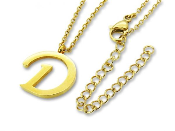 Amanto Ketting D Gold - Unisex - 316L Staal Goud PVD - Letter - 18 x 16 - 50 cm-0