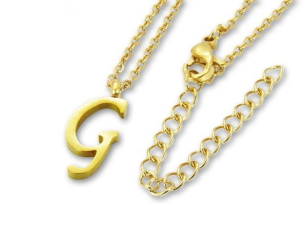 Amanto Ketting G Gold - 316L Staal PVD Verguld - Alfabet - 18x8mm - 50cm-0