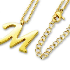Amanto Ketting M Gold - Unisex - 316L Staal Goud PVD - Letter - 19 x 18 - 50 cm-0