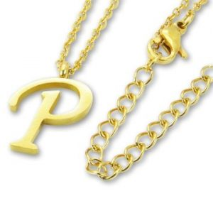 Amanto Ketting P Gold - Unisex - 316L Staal Goud PVD - Letter - 17 x 12 - 50 cm-0