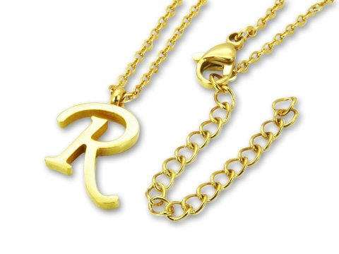 Amanto Ketting R Gold - Unisex - 316L Staal PVD - Letter - 16x11mm - 50cm-0