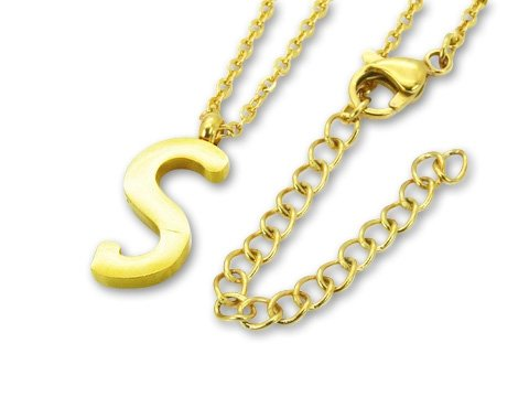 Amanto Ketting S Gold - 316L Staal PVD Verguld - Letter - 19x8mm - 50cm-0