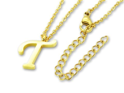 Amanto Ketting T Gold - Unisex - 316L Staal Goud PVD - Letter - 17 x 11 - 50 cm-0