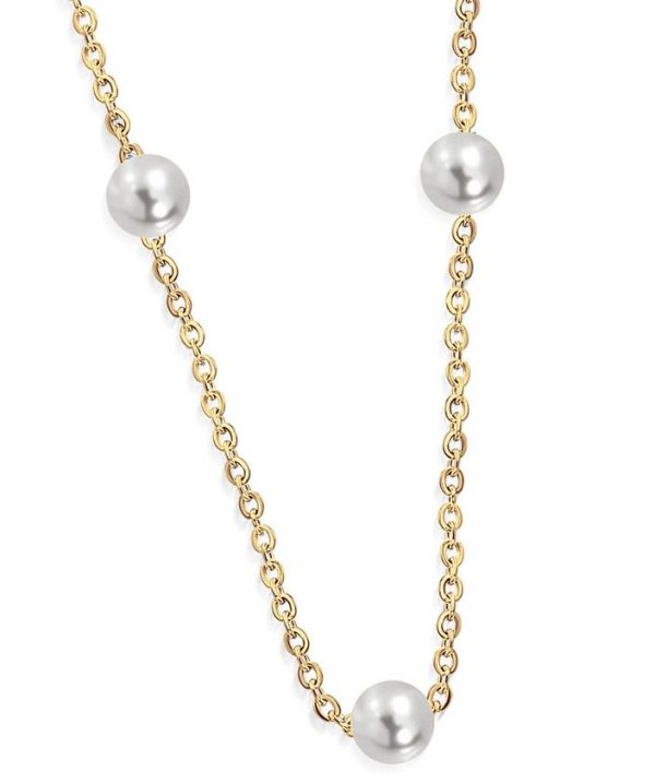 Amanto Ketting Birgin Gold K - Dames - 316L Staal Goud PVD - Parel - ∅6 mm - 45 cm-0
