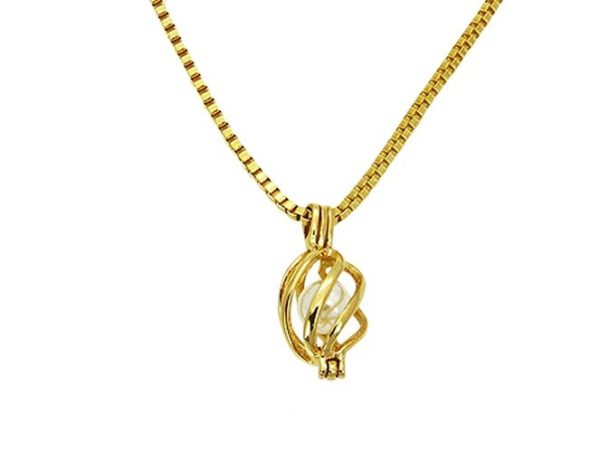 Amanto Ketting Ela Gold - Dames - 316L Staal Goud PVD - Parel - 21x10 mm - 45 cm-0