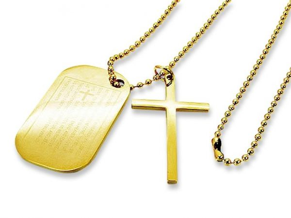 Amanto Ketting Djacky G - Heren - Staal - Dogtag - Kruis - 46x28mm - 70cm-0