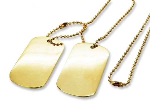 Amanto Ketting Elco - 316L Staal PVD Verguld - Dogtag - 52x30mm - 70cm-0