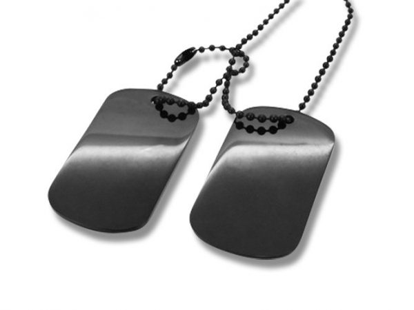 Amanto Ketting Elco Black - 316L Staal PVD - Dogtag - 52x30mm - 70cm-0