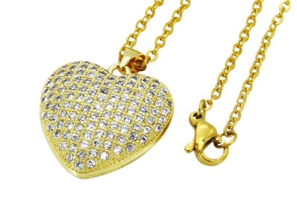 Amanto Ketting Elief Gold - Dames - 316L Staal Goud PVD - Zirkonia - Hart - 23x22 mm - 45 cm-0