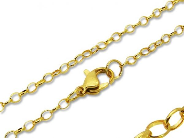 Amanto Ketting Eli Gold - 316L Staal Verguld PVD - Anker - 2mm - 45cm-0