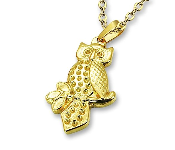 Amanto Ketting Dijara Gold - Dames - 316L Staal Goud PVD - Uil - 35 x 19 mm - 50 cm-0
