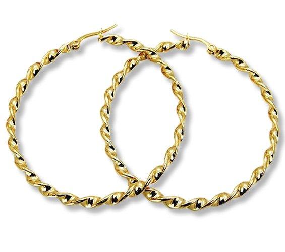 Amanto Oorbellen Eef Gold - Dames - 316L Goud PVD - Gedraaid - 3 mm - ∅55 mm-0