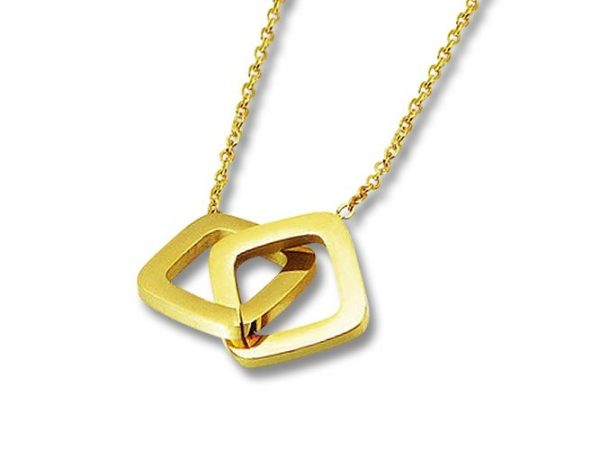Amanto Ketting Eise Gold - Dames - 316L Staal Goud PVD - Geometrisch - 13x13 mm - 50 cm-0