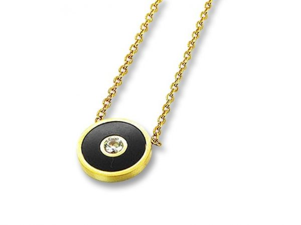 Amanto Ketting Efia Gold - Dames - 316L Staal Goud PVD - Rond -Zirkonia - ∅12 mm - 48 cm-0