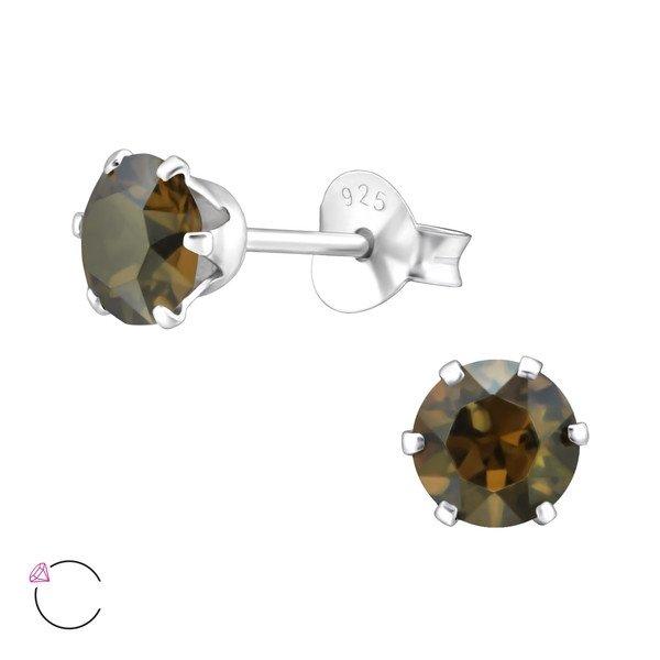 Amanto Oorbellen Elka Bronze - Dames - 925 Zilver - Swarovski® - Rond - ∅5 mm-0