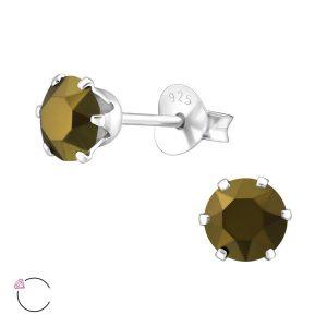 Amanto Oorbellen Elka Dorado - Dames - 925 Zilver - Swarovski® - Rond - ∅5 mm-0