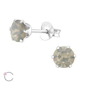 Amanto Oorbellen Elka Grey - Dames - 925 Zilver - Swarovski® - Rond - ∅5 mm-0
