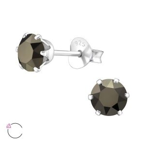 Amanto Oorbellen Elka Metallic Gold - Dames - 925 Zilver - Swarovski® - Rond - ∅5 mm-0