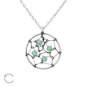 Amanto Ketting Elphi Green - Dames - 925 Zilver - Swarovski® - Rond - ∅17 mm - 45 cm-0
