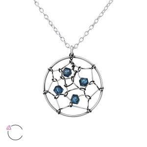 Amanto Ketting Elphi Blue - Dames - 925 Zilver - Swarovski® - ∅17mm - 45cm-0