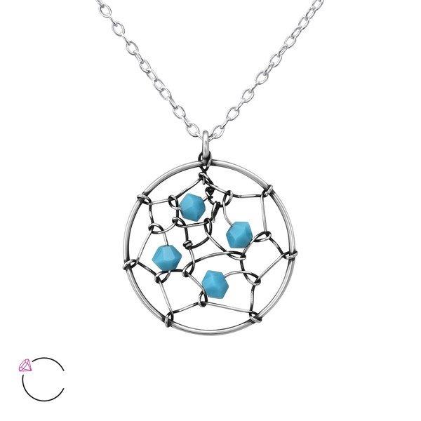 Amanto Ketting Elphi Turquoise - Dames - 925 Zilver - Swarovski® - Rond - ∅17 mm - 45 cm-0