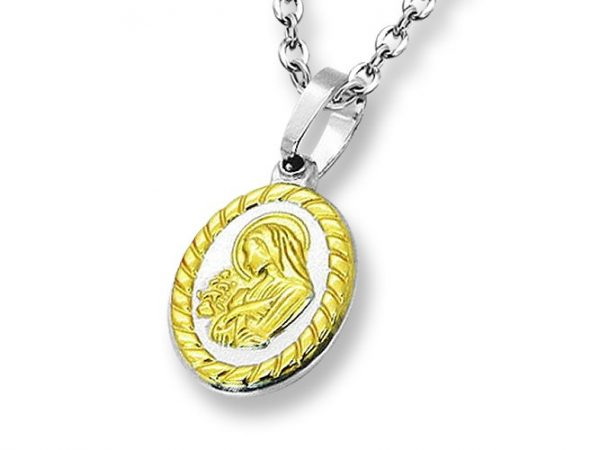 Amanto Ketting Emira Gold - Unisex - 316L Staal PVD - Maria - 20x14 mm - 45 cm-0