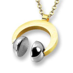 Amanto Ketting Emlyn Gold - Heren - 316L Staal PVD - Muziek - Koptelefoon - 26x31 mm - 60 cm-0