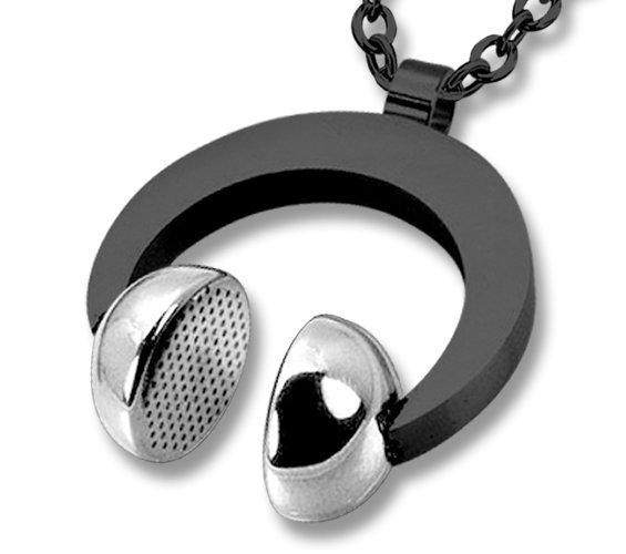 Amanto Ketting Emlyn Black - Heren - 316L Staal PVD - Muziek - Koptelefoon - 26x31 mm - 60 cm-0