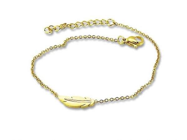 Amanto Armband Ema Gold - Dames - 316L Staal Goudkleurig PVD - Veer - 18+3 cm-0