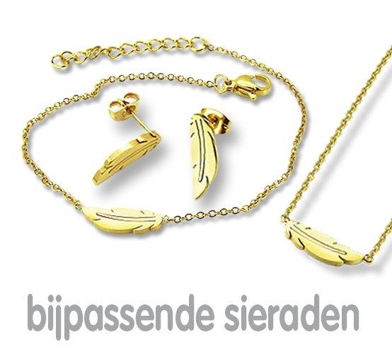Amanto Oorbellen Ema Gold - Dames - 316L Staal Goudkleurig PVD - Veer - 15x5 mm-21812