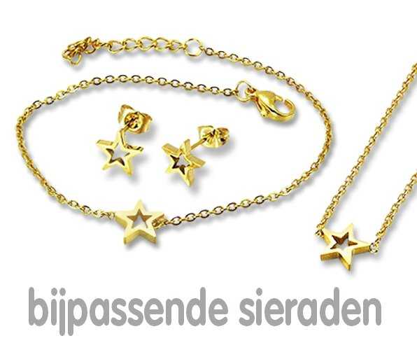 Amanto Ketting Emgre Gold - Dames - 316L Staal Goudkleurig PVD - Ster - ∅8 mm - 45+5 cm-21956
