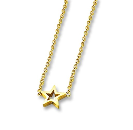 Amanto Ketting Emgre Gold - Dames - 316L Staal Goudkleurig PVD - Ster - ∅8 mm - 45+5 cm-0